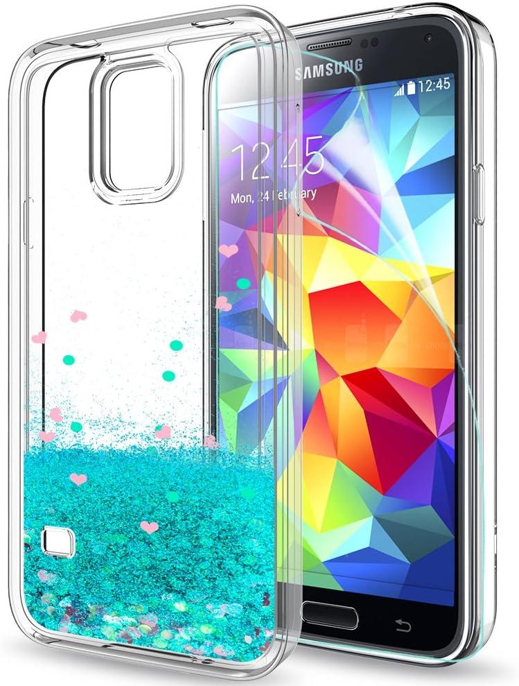 LeYi Coque Galaxy S5 Etui avec Film de Protection écran, Fille Personnalisé Liquide Paillette Transparente 3D Silicone TPU Gel Antichoc Kawaii Housse ...