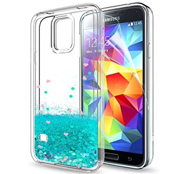 LeYi Compatible con Funda Samsung Galaxy S5 / S5 Neo Silicona Purpurina Carcasa con HD Protectores de Pantalla,Transparente Cristal Bumper Telefono ...