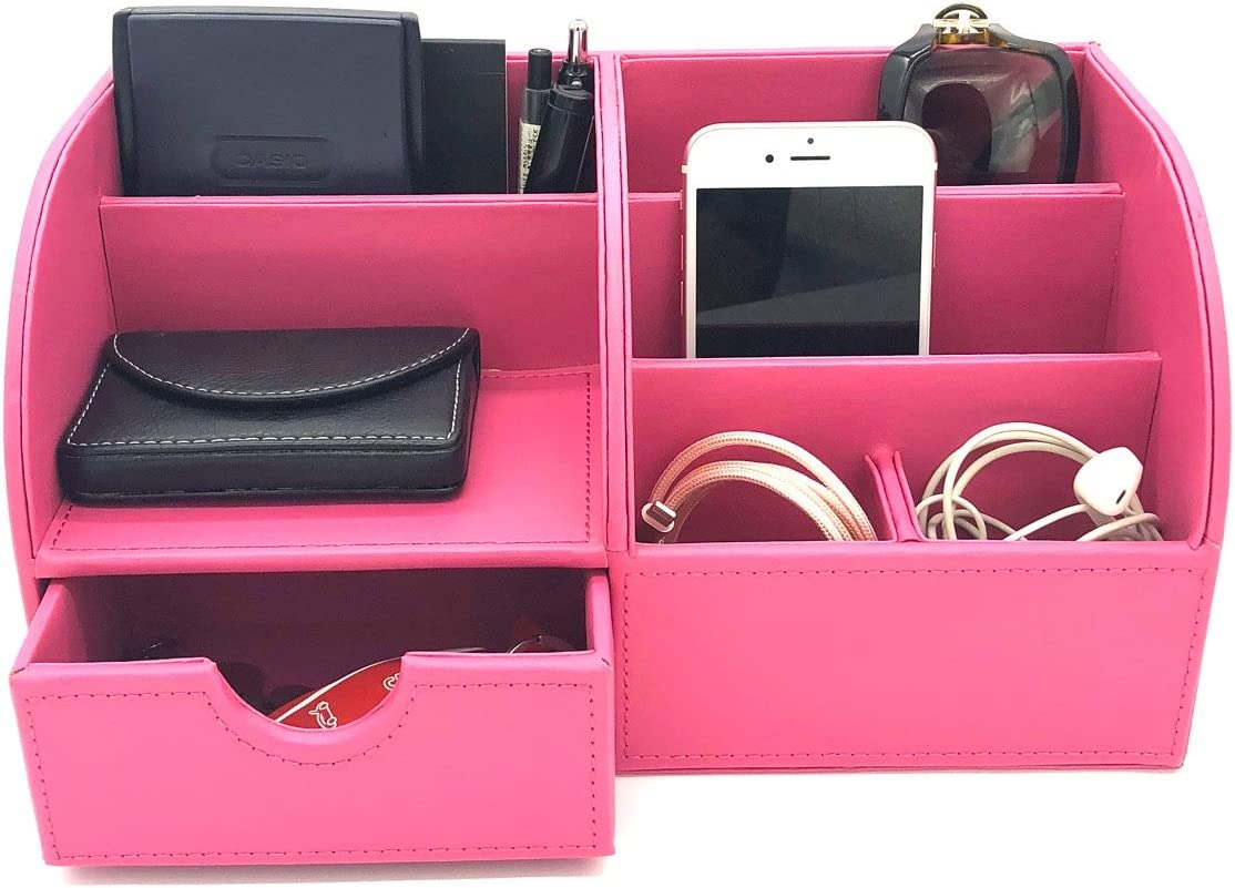 UnionBasic Office Desk Organizer - Multifunctional PU Leather Desktop Storage Box - Business Card/Pen/Pencil/Mobile Phone/Stationery Holder (ROSEO)