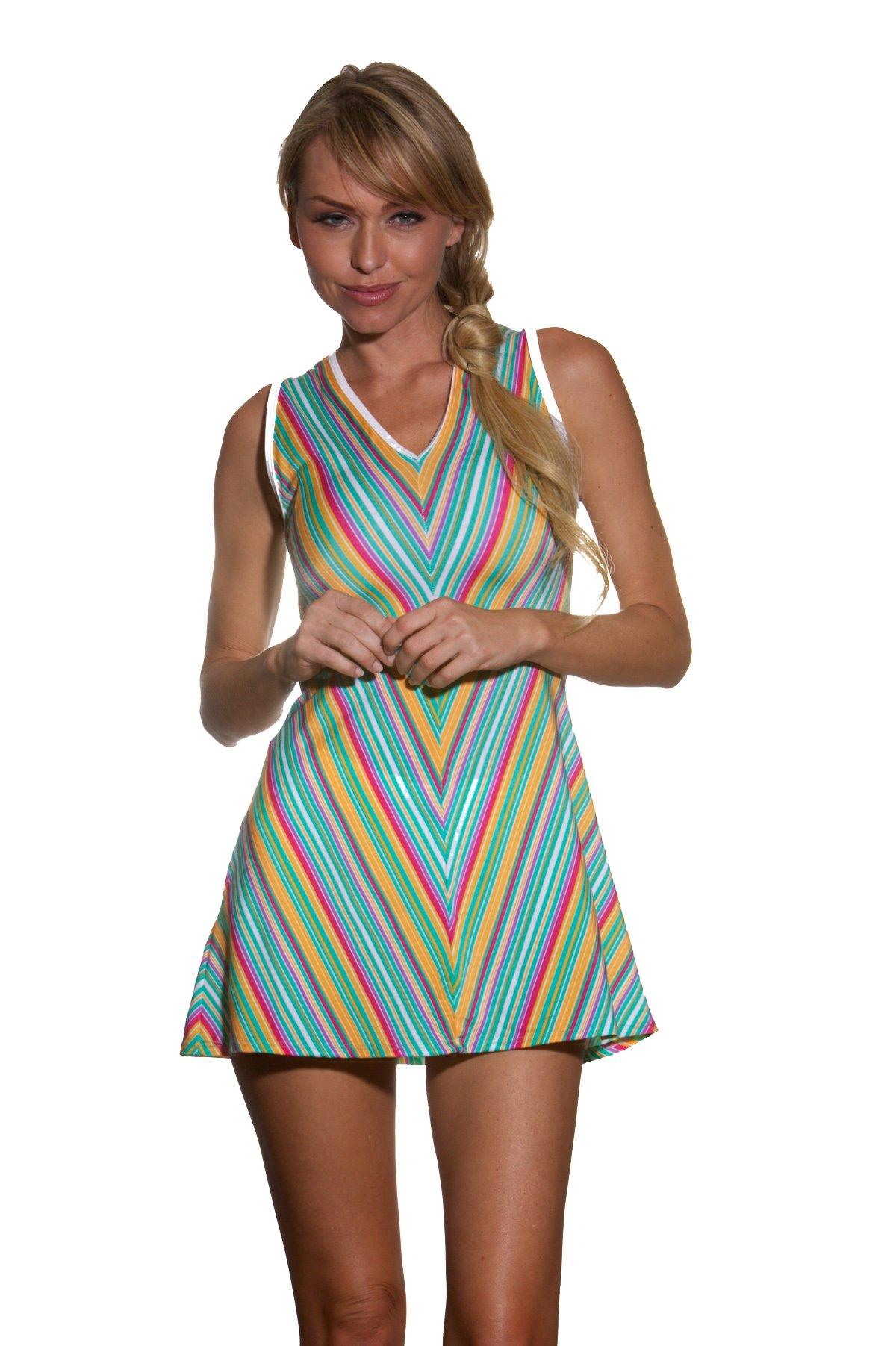 Show No Love Women's Serena Piped V-Neck Tennis Dress (Multicoloredsize s)