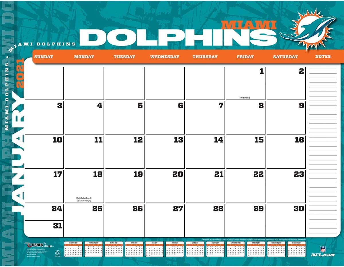 TURNER Sports Miami Dolphins 2021 22X17 Desk Calendar (21998061541)