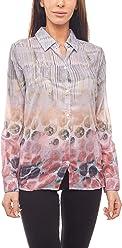 885aa8c999be3a CORLEY Bluse Moderne Shirt Damen Schlupfbluse mit Allovermuster Chiffon Bunt