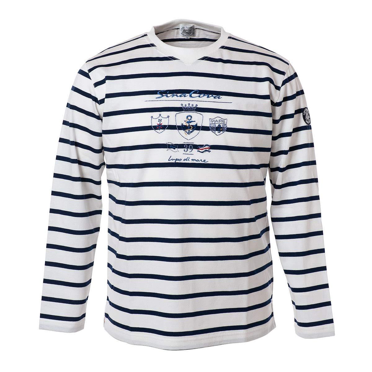 (シナコバ) SINA COVA 長袖Tシャツ ロングスリーブTシャツ ロングT ロンT クルーネックTシャツ カットソー 綿×レーヨン 天竺 ボーダー メンズ マリンウェア ゴルフウェア 19110030 LL  B07PXQ35LV
