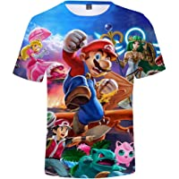 Silver Basic Camisetas de Moda Super Mario Game Tops Impresión 3D Camisas Fan Tops