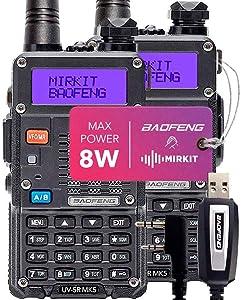 2PCs Baofeng Radios UV-5R MK5 8 Watt MP Max Power 2020 1800 mAh Li-ion Battery with Programming Cable Compatible for Baofeng Two Way Amateur Ham Radio Walkie Talkie, Mirkit Edition