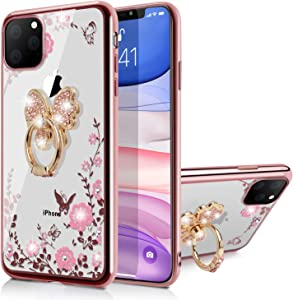 WATACHE iPhone 11 Case, Glitter Sparkly Diamond Secret Garden Floral Butterfly Clear Back Soft TPU Case with Bling Ring Grip Holder Stand for Apple iPhone 11,Butterfly Ring/Rose Gold