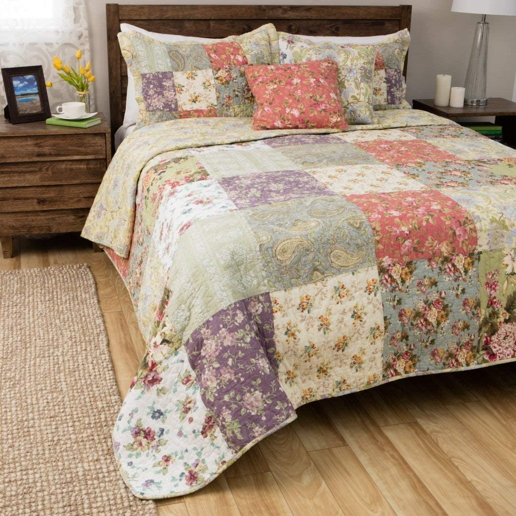 Floral Patchwork Bedspreads & Bedding Set of 3 Piece, 100% Cotton Oversized, Full / Queen