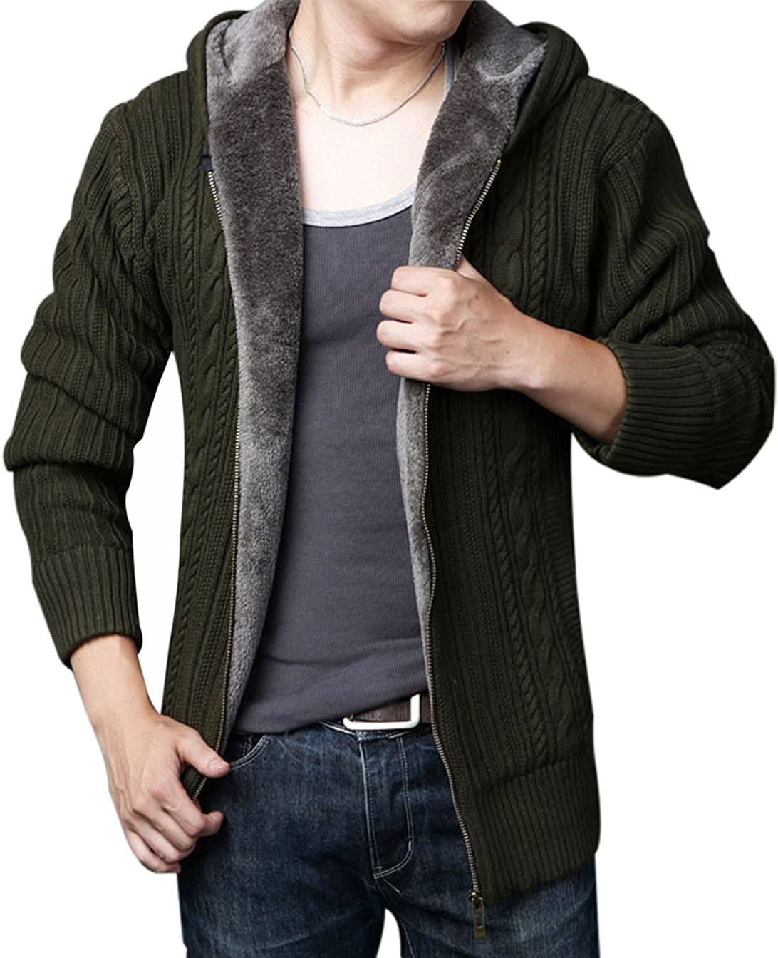Yeokou Mens Casual Slim Winter Thick Sherpa Lined Zipper Hoodie Cardigan Sweater
