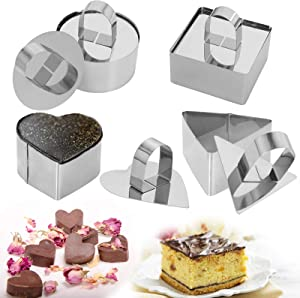Stainless Steel Cake Rings, 3 x 3 inch Dessert Mousse and Pastry Baking Mold, Set of 4 shapes (4 Molds,4 Pushers) Food Rings Cooking Rings