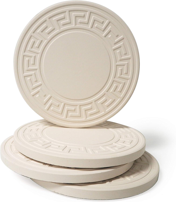 CoasterStone Absorbent Stone Greek Key Coasters, 4.25