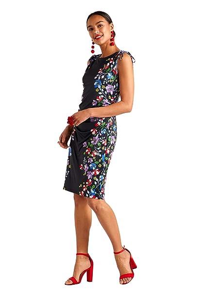 e64091be88c YUMI Black Floral Border Sleeveless Bodycon Dress  Amazon.co.uk  Clothing