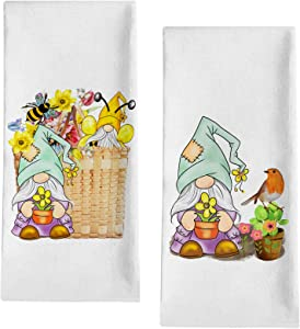 "Seliem Spring Summer Bee Gnome Decorative Kitchen Dish Towel, Daffodil Flower Basket Bath Fingertip Towel Tea Bar Hand Drying Cloth, Seasonal Bird Tulip Decor Home Farmhouse Decorations 18"" x 28"""