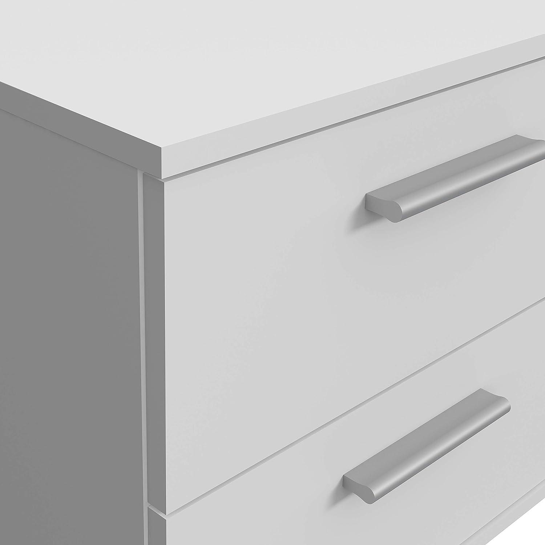 passend zu Boxspringbetten FORTE Nachttisch Nachtkonsole mit 3 Schubk/ästen Betonoptik