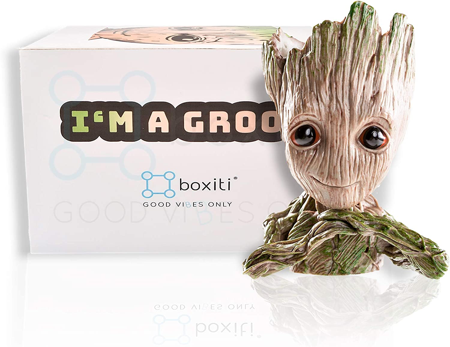 Boxiti Baby Groot Guardians of Galaxy Action Figure Flowerpot & Pens Holder for Home, Office Planter pots Creative Decoration with Gift Groot Key Ring Model 2