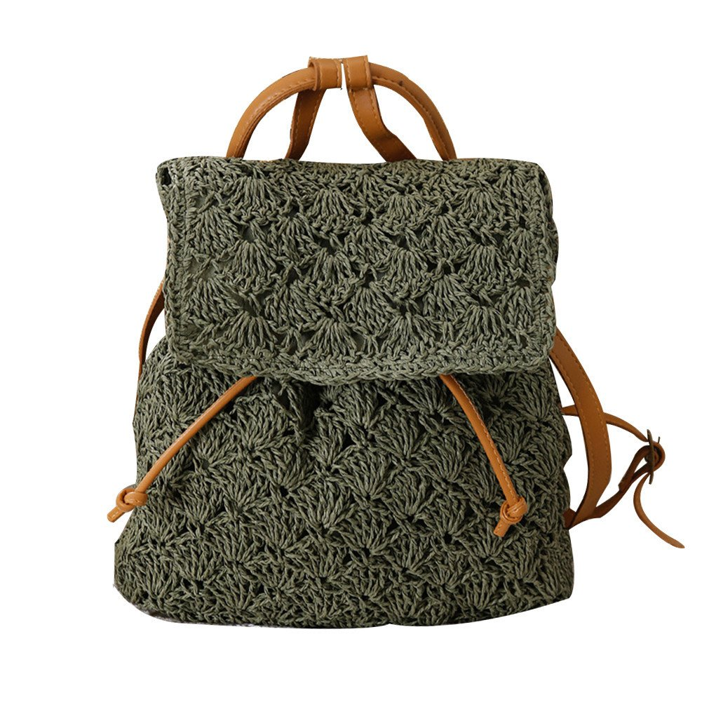 sweetyhomes Girl Style Fashionable Vintage Beach Vacation Straw Bag Casual Bag Backpack Women Woven Bag