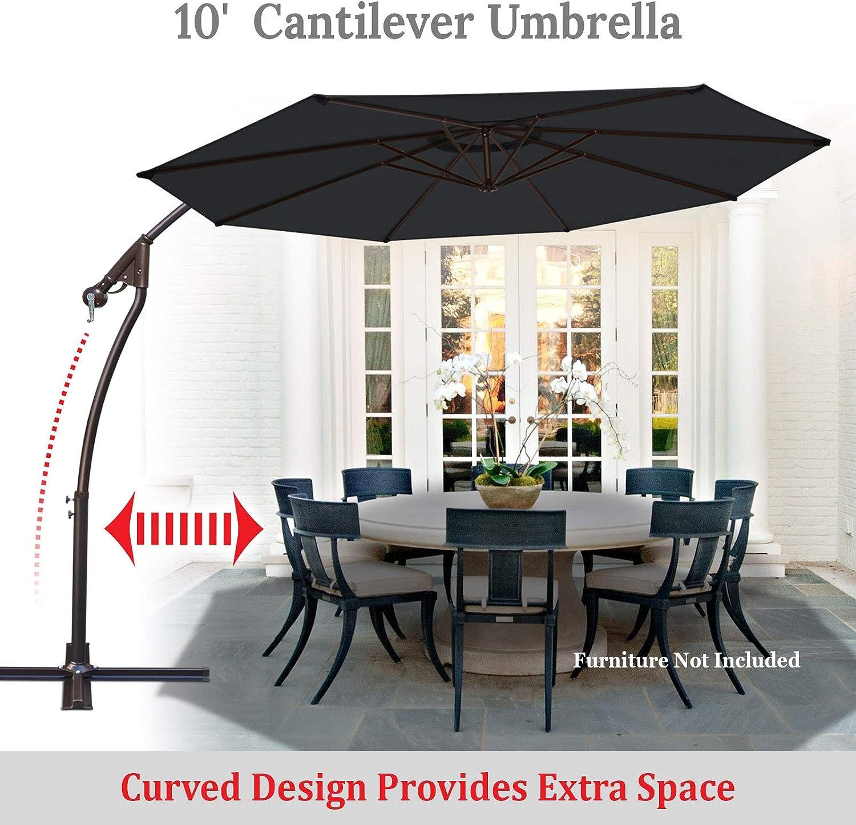 BenefitUSA 10Cantilever Patio Umbrella Garden Outdoor Sunshade Hanging Market Black