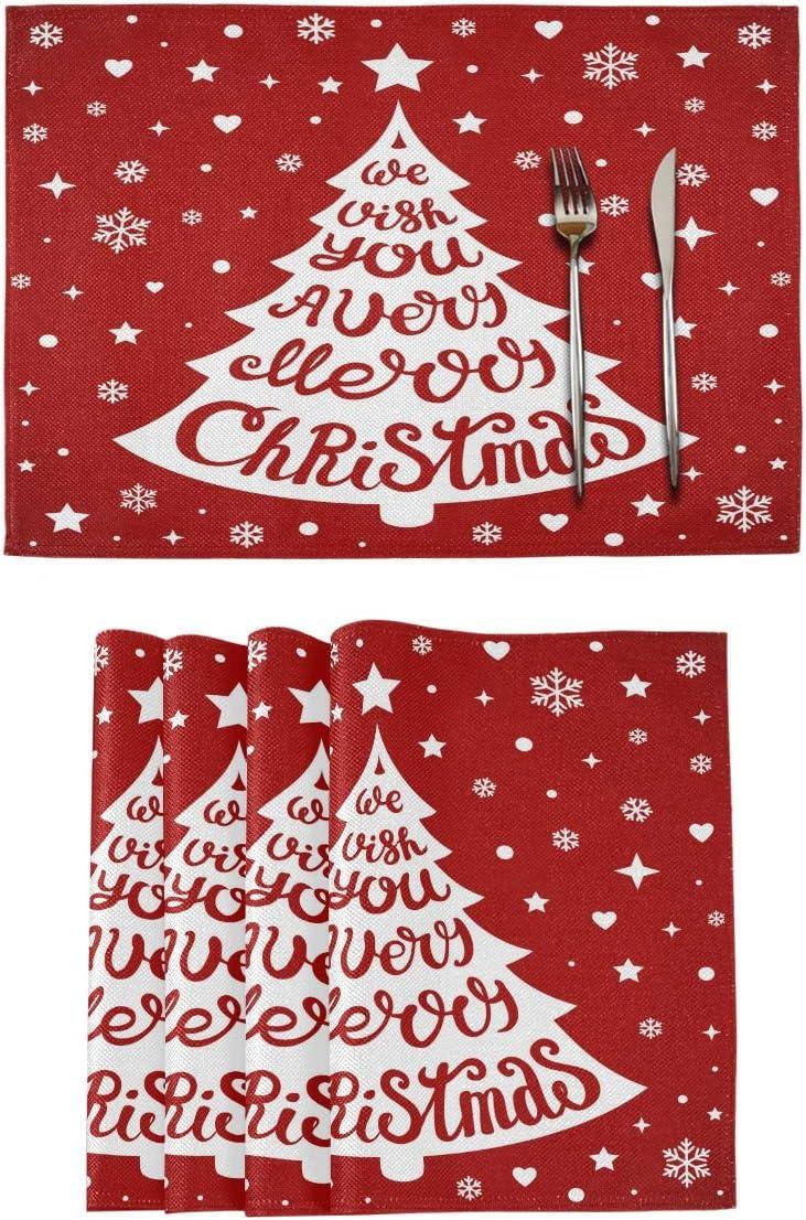 Christmas Decoration Placemat Non-Slip Xmas PVC Washable Printed Elk Tree Snowflake Dining Table Mat Coaster
