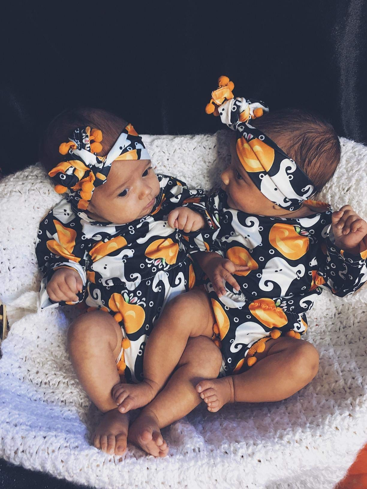 My First Halloween Outfit Sets Newborn Pumpkin Bodysuit with Headband Baby Girls Clothes(0-3M by Okgirl (Image #2)