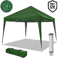 NOUVOT Gazebo Richiudibile 3x3 Pieghevole a Fisarmonica Impermeabile PVC Mercato Tenda con Sacca Colore Verde