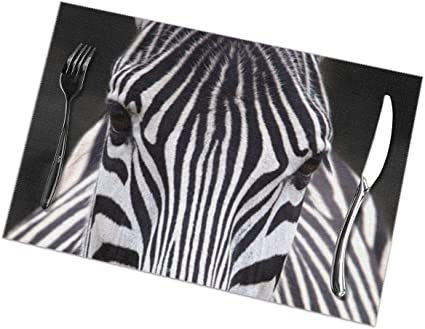 Fghjy Fashion Zebra Print Placemats Dining Table Place Mats Set Of 6 Easy To Clean Durable Non Slip Kitchen Table Mats Heat Resistant Coffee Mats 18 X 12 Amazon Co Uk Kitchen Home