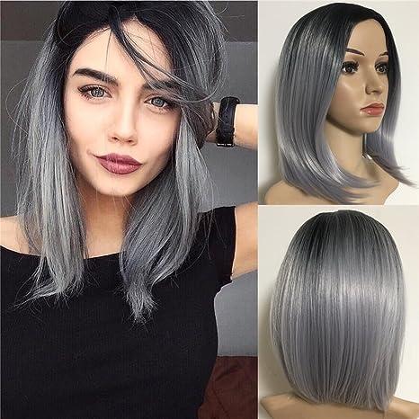 Amazon.com  Synthetic Bob Straight Hair Wigs Dark Roots