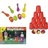 Idena 40416 Ballwurfspiel mit 10 Bechern und 3 Bällen, Bunt (Bunt, 3 Spiele Kinderparty-Set)