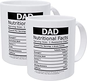 Willcallyou Pack of 2 Dad Nutritional Facts, Fathers Day 11 Ounces Funny White Coffee Mug