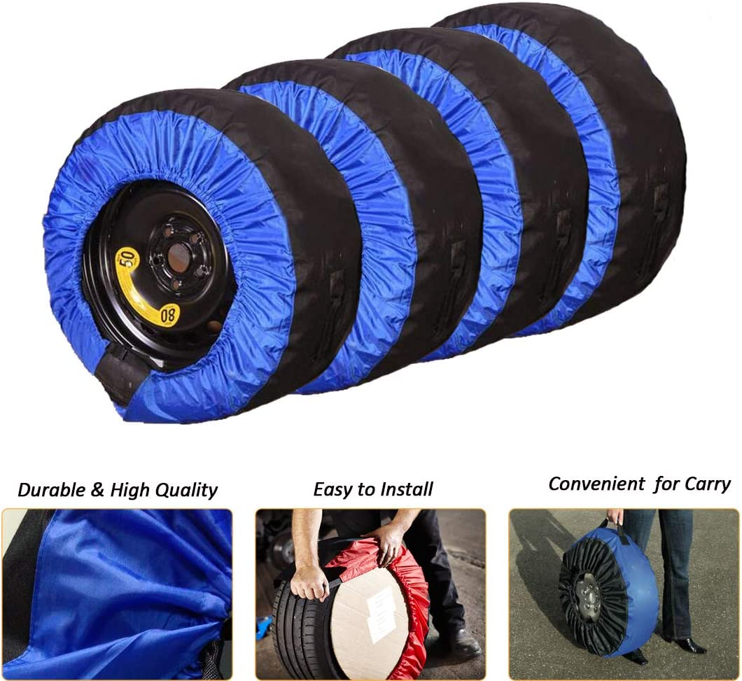 J/&C 4 Pcs 30INCH Blue Tire CoverTire Cover 2 Pcs Wheel Felts Durable Spare Tire Protection Tote Covers Seasonal Tire Storage Bag for Car SUV 17-30 Tires