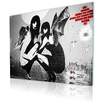 Kneeling Angels Drunken by BanksyFramed canvasWall art print giclee HD