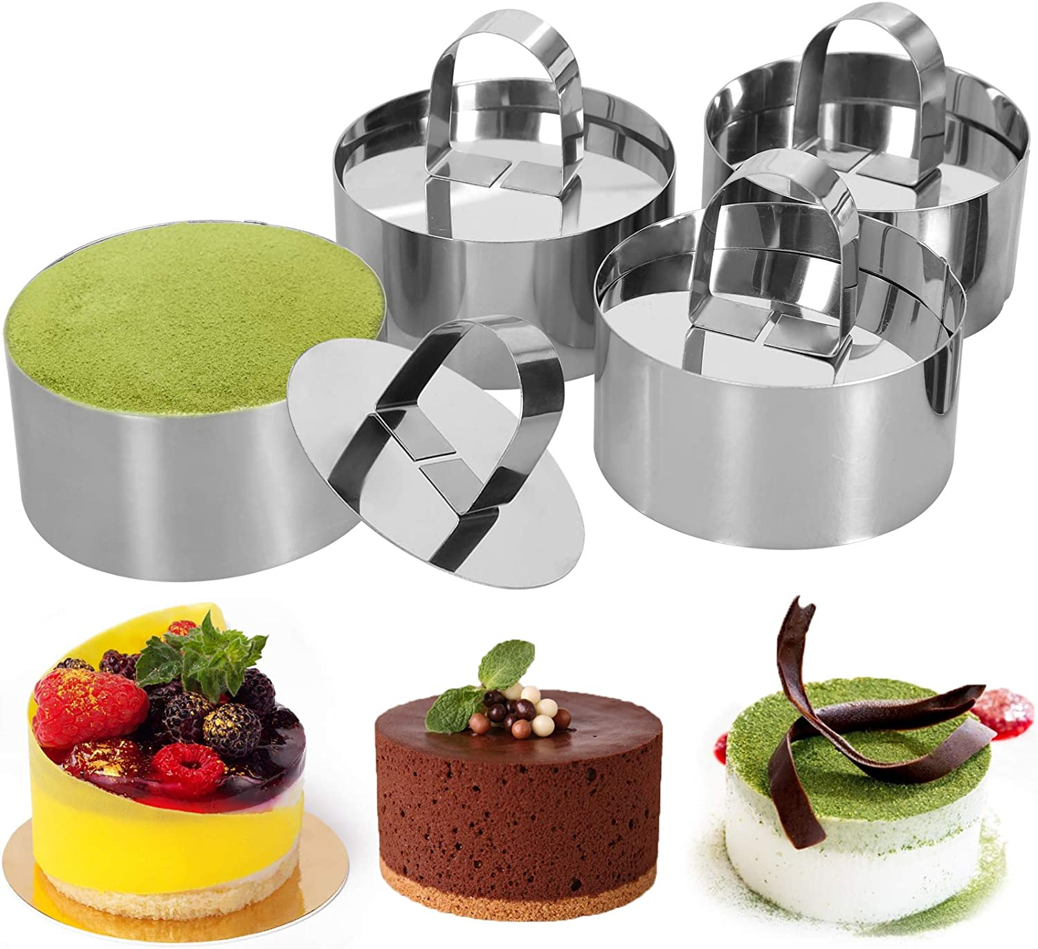 Round Stainless Steel Cake Rings, 3 x 3 inch Dessert Mousse and Pastry Baking Mold, Set of 4 (4 Rings,4 Pushers) Cooking Rings