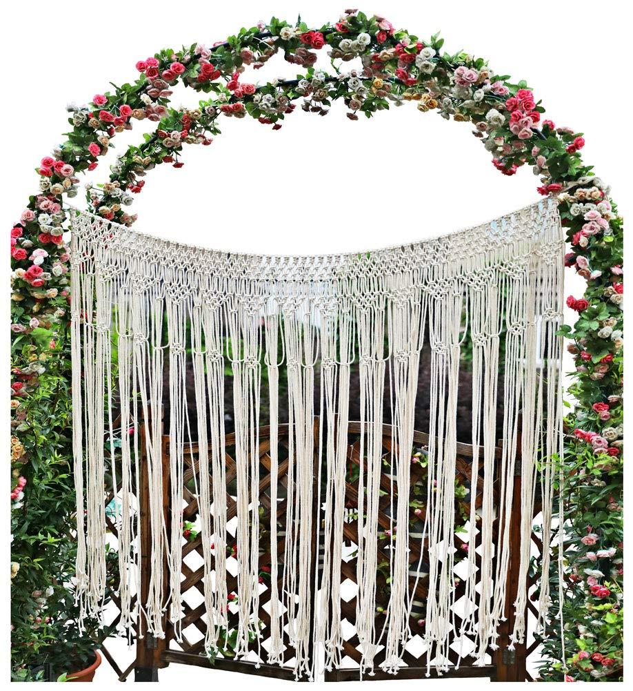 "Pantaknot Large Macrame Boho Decor Wall Hanging Wedding Backdrop Arch Window Covering Headboard Curtain, 56""W x 50""L"