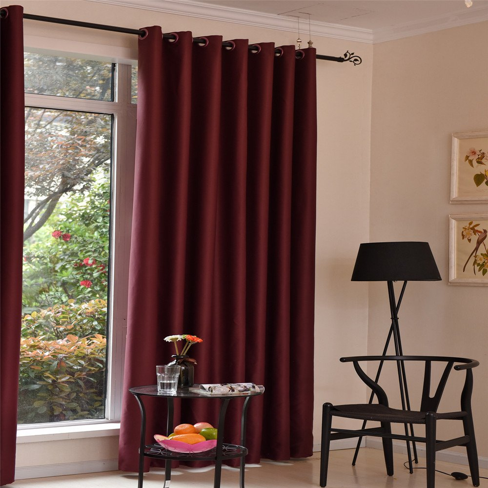 42W X 96L, Grey AUSWIND Room Darkening Red//Grey//Brown Minimalist Thermal Polyester Insulated Blackout Drapes Grommet Top Window Curtains one Panel