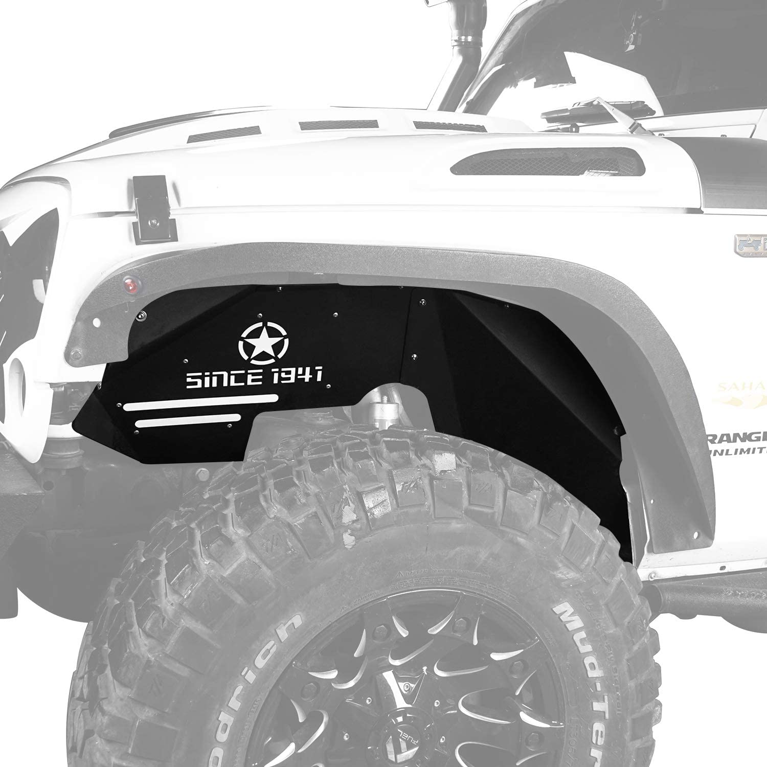 Hooke Road Jeep Wrangler JK Inner Fender Liners Front Fender Mud Guards for 2007-2018 Jeep Wrangler JK Sport Sahara Rubicon 2/4 Doors