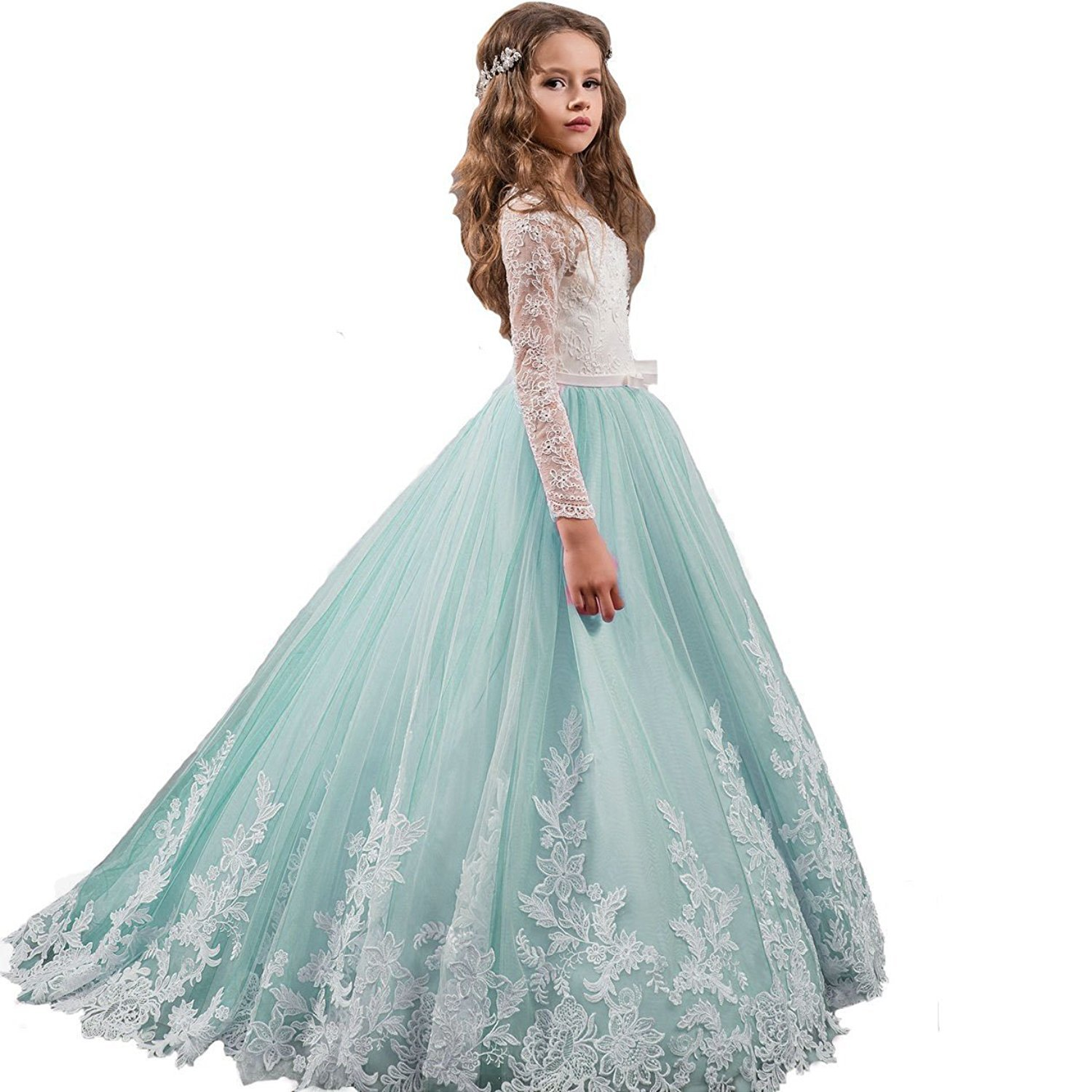 Amazon.com: KSDN Lace Pageant Flower Girl Dresses First Communion ...