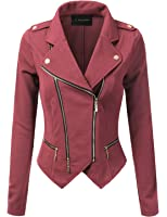 JJ Perfection Womens Long Sleeve Double Zip Up Moto Jacket Outerwear