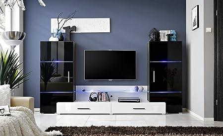 Mueble para el televisor con un diseño de torres, un módulo de pantalla y un soporte para la televisión con iluminación led, disponible en 4 colores: Amazon.es: Hogar