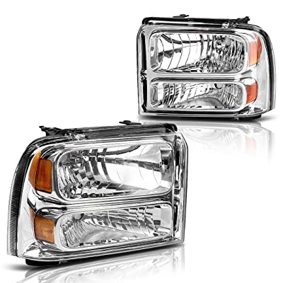 AUTOSAVER88 Compatible with 05 06 07 ford F250 F350 F450 F550 Super Duty/ 05 ford Excursion Headlight Assembly,OE Projector Headlamp,Chrome Housing Clear Lens: Automotive
