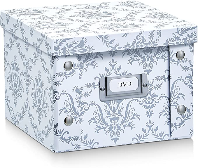 Zeller 17971 Caja de almacenaje de cartón Blanco (Vintage White) 21.5 x 20.5 x 15 cm: Amazon.es: Hogar
