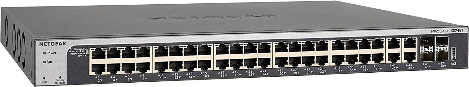 NETGEAR 48-Port 10G Ethernet Smart Managed Pro Switch (XS748T) - with 4 x 10Gigabit SFP+, Desktop/Rackmount, and ProSAFE Limited Lifetime Protection