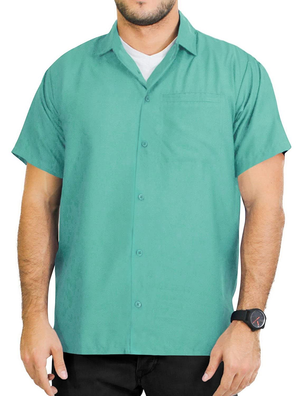 TALLA S - Pecho Contorno (in cms) : 96 - 101. LA LEELA Manga Corta botón Abajo Camisa Hawaiana Las Hombres