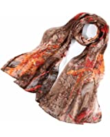 Signare Women's Silk Scarf Watercolour Floral Print Elegant Lightweight Fashion