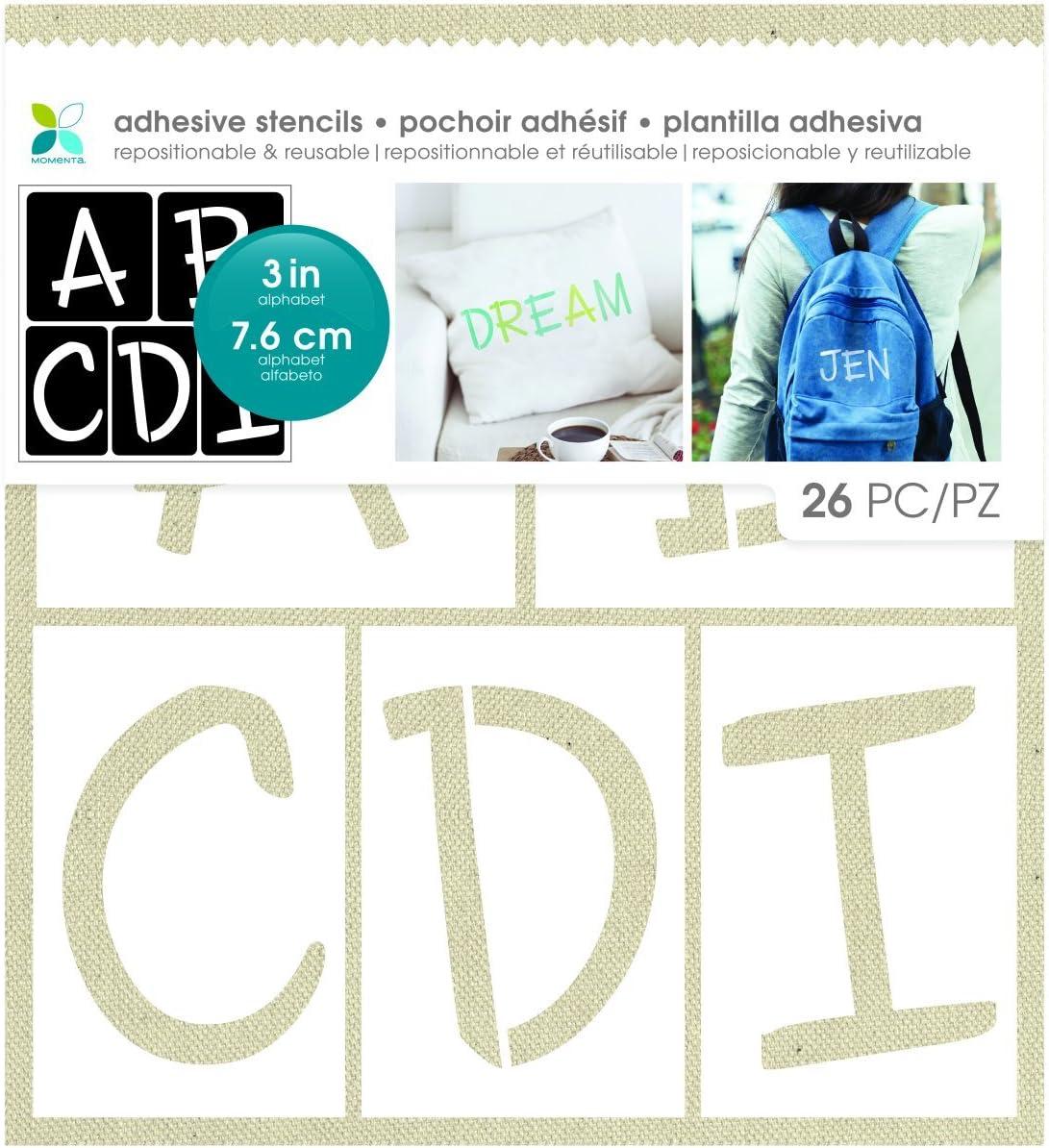 Momenta Handwritten Adhesive Fabric Stencil Alphabets, White