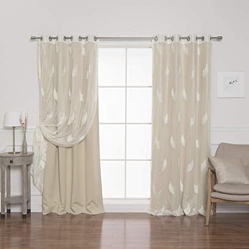 Best Home Fashion uMIXm Sheer Leaf Blackout Mix Match Curtains – Stainless Steel Nickel Grommet Top – Beige – 52 W x 84 L – Set of 4 Panels