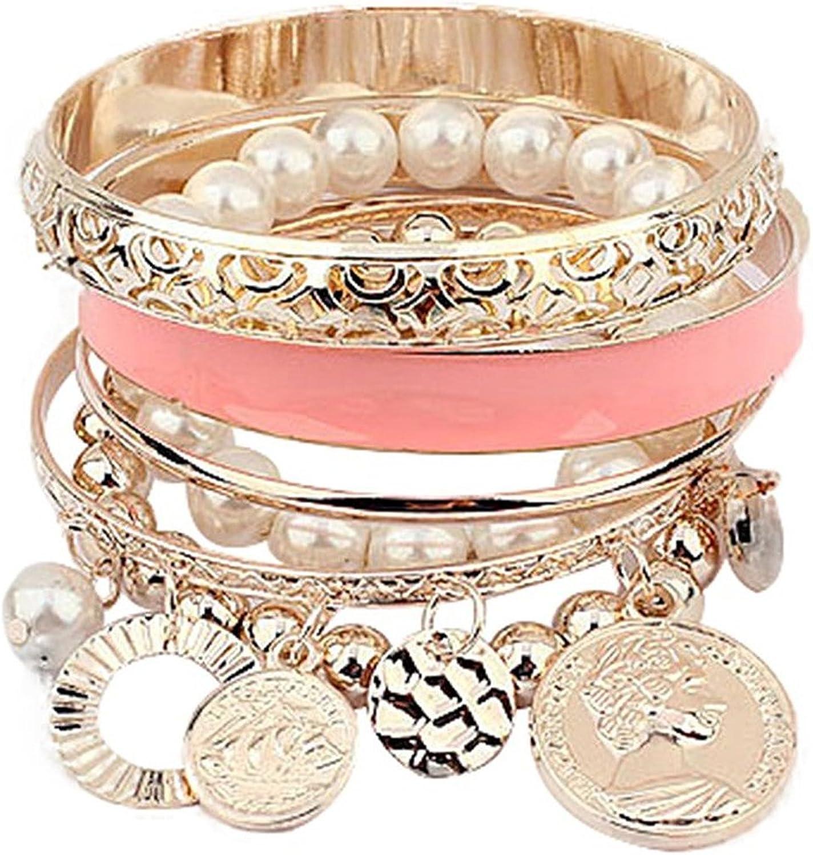 Pulsera SODIAL(R), para mujer, multicapa, con abalorios, de color rosa, moderno