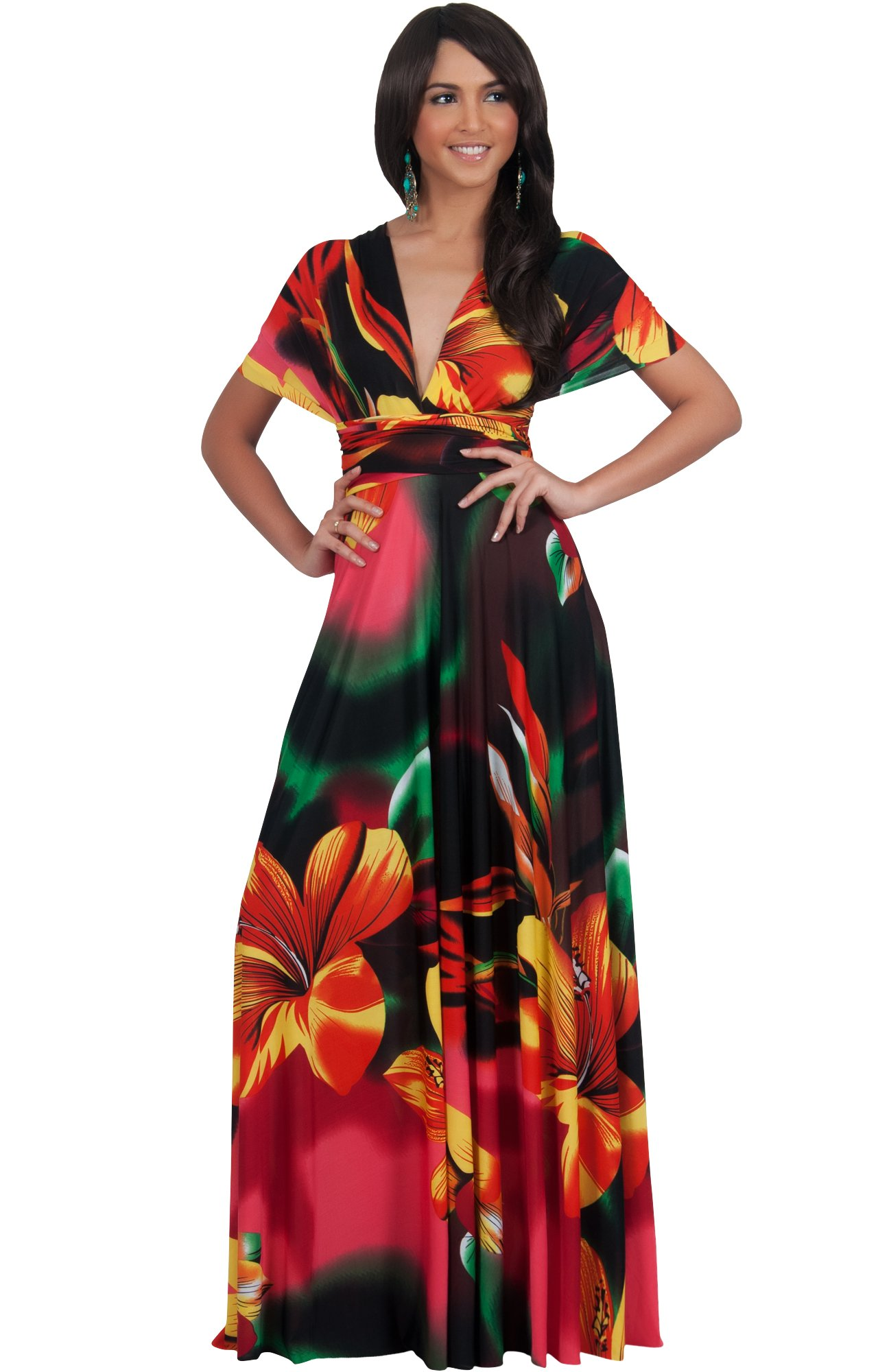 c4d533ca959 KOH KOH Plus Size Womens Long Convertible Wrap Infinity Transformer Floral  Print Summer Sexy Multi Way Evening Party Hawaiian Gown Gowns Maxi Dress  Dresses