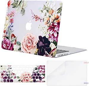 MOSISO MacBook Air 13 inch Case (A1369 & A1466, Older Version 2010-2017 Release), Plastic Rose Leaves Hard Shell&Keyboard Cover&Screen Protector Only Compatible with MacBook Air 13 inch, Transparent