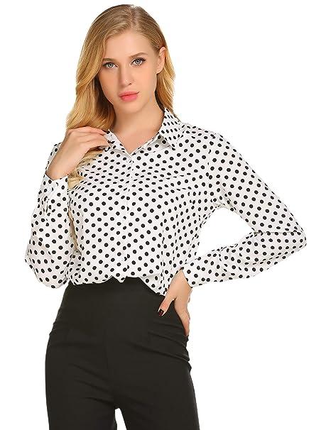Women's Polka Dot Long Sleeve Button Down Shirts