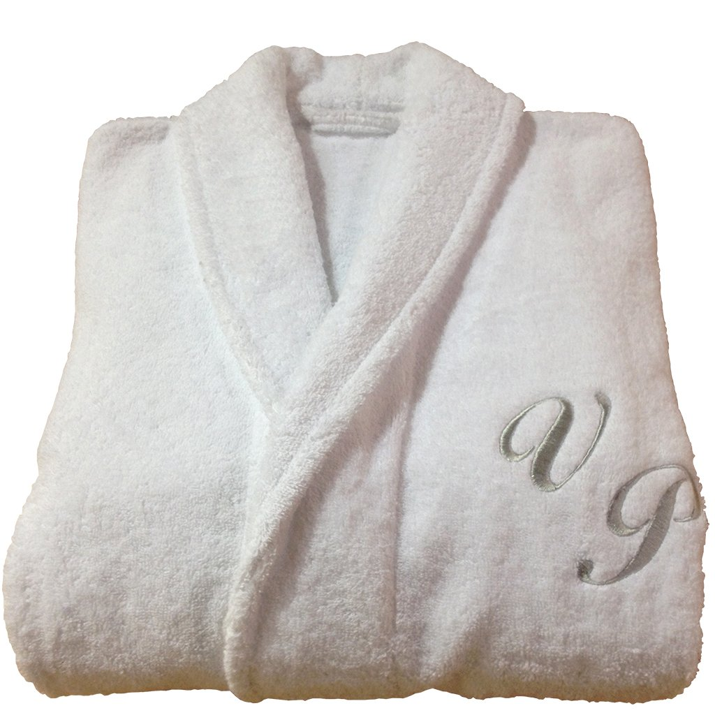 BgEurope HOTEL AND SPA EDITION PERSONALIZED MONOGRAM + NAME (AT FRONT) SHAWL COLLAR COTTON TERRY WHITE BATHROBE (L)