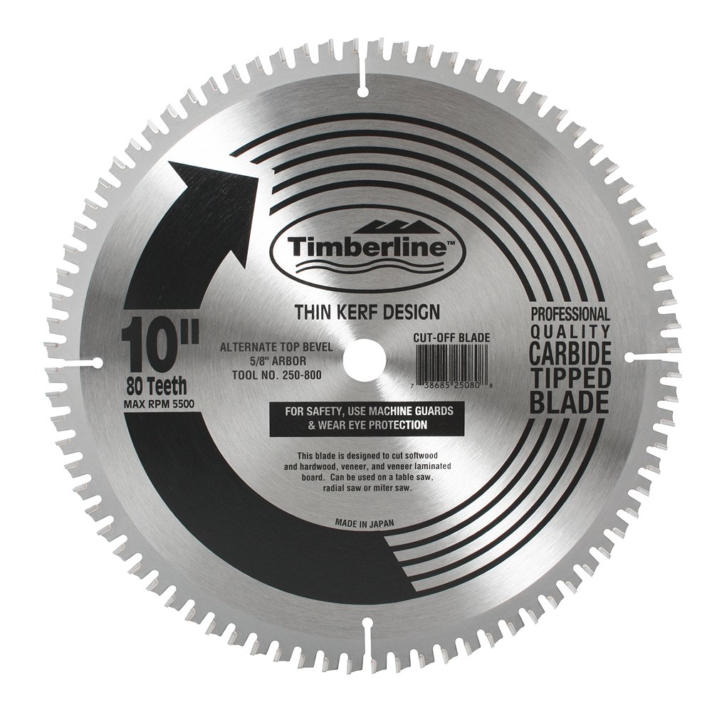 Timberline 250-800 General Purpose and Finishing 10-Inch Diameter by 80-Teeth by 5/8-Inch Bore, ATB Grind Thin Kerf Carbide Tipped Saw Blade