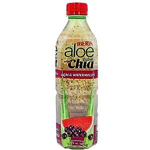 Iberia Aloe Vera Juice Drink With Chia Seeds, Acai &Watermelon, 16.9 Fl Oz (Pack of 24) Fat Free; Gluten Free; Vegan; Non-Gmo; BPA-Free
